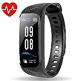 WiMiUS Armband, Wasserdicht IP68 Fitness Tracker Farbbildschirm Aktivitätstracker Pulsuhren Schrittzähler Uhr Smartwatch Vibrationsalarm Anruf SMS Beachten für iOS Android Handy, schwarz