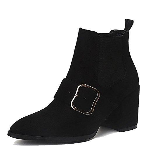 Donna breve stivali tacchi alti in pelle spessa caldo elastico fibbia alla caviglia scarpe, BROWN-36 BLACK-40