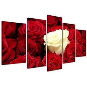 """Bilderdepot24 Immagine su tela """"bianco rosa"""" - 100x50 cm 5 pezzi - incorniciato direttamente dal produttore, intelaiata e pronta da appendere"""