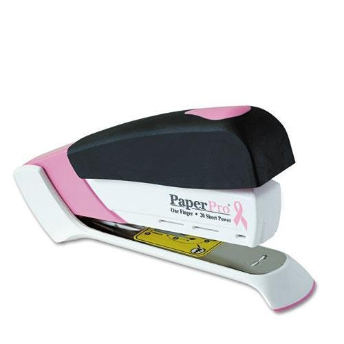 ink Ribbon Desktop Stapler, 20-Sheet Capacity, Black/Pink by Accentra ()