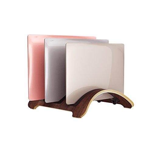 Vertikale Laptop-Ständer, Samdi woodmacbook Schutzhülle Laptop-Halter mit 3 Slots mehr Desktop platzsparend für Apple MacBook Air Pro Notebooks Black Walnut