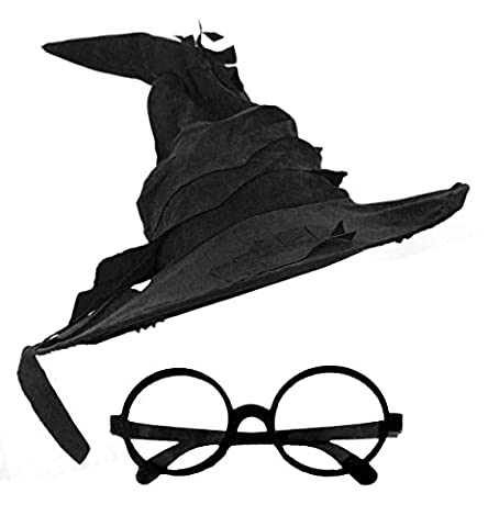 WIZARD HAT + ROUND WIZARD GLASSES FANCY DRESS ACCESSORY SUEDE FEEL POINTED WITCHES HAT BOOK FILM CHARACTER IN 3 COLOURS