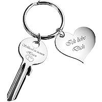 """Schlüssel zu meinem Herzen mit Herz-Anhänger """"Ich liebe Dich"""" - Schlüsselanhänger graviert - Silber - romantische Geschenke für Frauen, Freund, Freundin"""