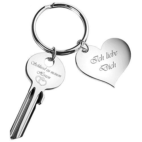 Schlüssel zu Meinem Herzen mit Gravur Ich Liebe Dich auf Herz-Anhänger - Valentinstag Geschenke für Männer, Frauen, Freund und Freundin