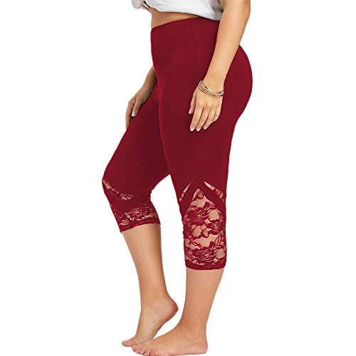Damen Yogahose Mit SteigbüGel, Weant Frauen 3/4 Yoga Hose High Waist Übergröße Spleißen Sport Yogahose Leggings Sporthose Jogginghose Workout Fitness Caprihose Trainingshose L-5XL -