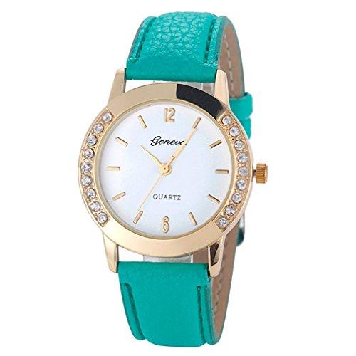 ♬ Montre Femmes,GongzhuMM Femme Montre-Bracelet Analogique de Quartz avec Strass Cuir Mode Femmes (Taille du boîtier: 35.5mm x 35.5mm, vert)
