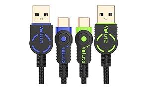 Cables USB Tipo C Volutz (2X 6.5FT) chapados en Oro y Trenzados en Nylon USB-A a Tipo-C 2.0 Compatible con Samsung Galaxy S8, S8+, Note 8, Sony XZ, LG G6, Pixel 2 XL & Más (con código de Colores)