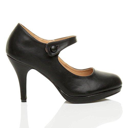 Damen Mittel Hoher Absatz Mary Jane Riemen Abend Elegant Pumps Schuhe Größe Schwarz Matt