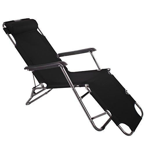 Smartfox Sonnenliege Gartenliege Strandliege 3 Sitz-/Liegepositionen ca. 180 cm Schwarz
