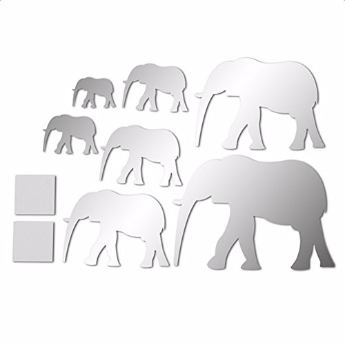 XU-XIAZHI,Creative 7 Elephant Acrylic Espejo Sticker 3D Home Wall Decoration(Color:Plata)