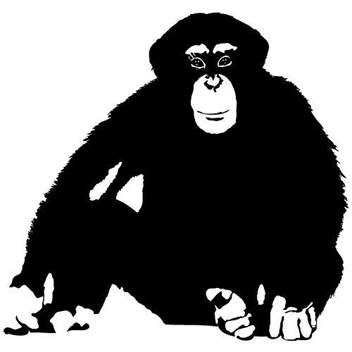 Preisvergleich Produktbild Wadeco Schimpanse sitzend Wandtattoo Wandsticker Wandaufkleber 35 Farben verschiedene Größen, 70cm x 67cm, violett