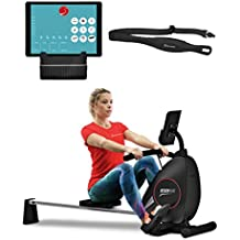 Máquina de remo de Sportstech incluye app para smartphone y correa de pulso. La RSX400 plegable es ideal para su hogar con una 8 magnetorresistencia ajustable y una silla con rodamientos.
