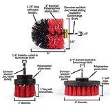 SWQ - Spazzola elettrica per trapano con 3 spazzole di pulizia Taglia unica Rosso