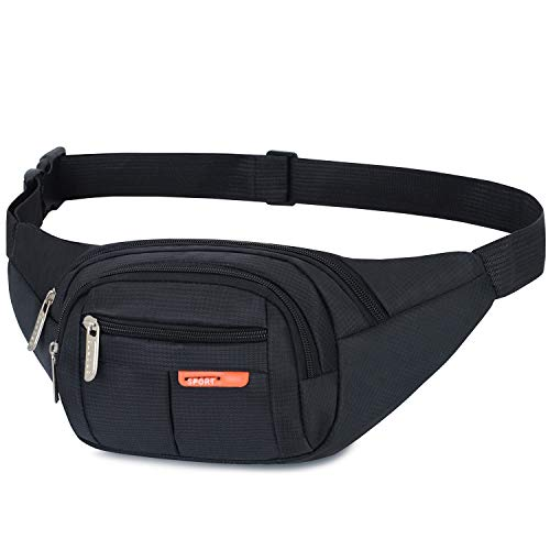 AirZyx Wasserdichte Bauchtasche Geeignet für Reise, Sport & alle Outdoor Aktivitäten, Hüfttasche für Damen und Herren, Bauchtasche Wasserdicht Hüfttaschen für Running (Schwarz)