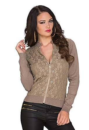 4984 Fashion4Young Damen Cardigan aus feinem Strick Bolero Jacke Jäckchen in 5 Farben Gr. 36/38 (36/38, Cinder)