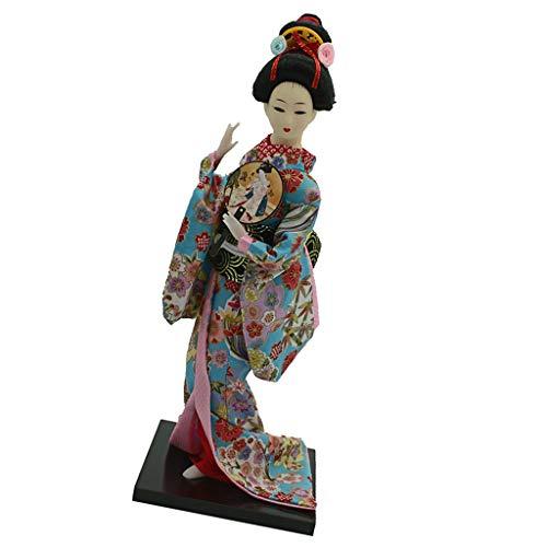 MagiDeal 12 Zoll Vintag Japanische Kimono Geisha Puppe Figur mit Kleidung Wohnkultur Dekofigur Handwerk - # ()