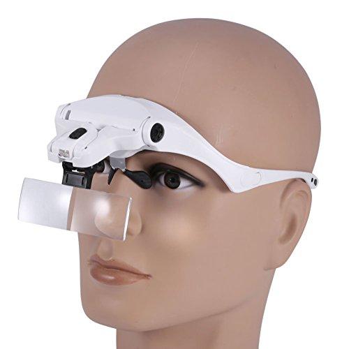 5 Objektiv Headset Lupe mit LED-Leuchten Hand Frei Lupe Wimpernverlängerung
