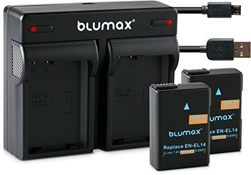 Blumax 2X Gold Akku 1300mAh für Nikon EN-EL14/EN-EL14a + Mini Dual-Ladegerät USB für Nikon D3100 D3200 D3300 D3400 D5100 D5200 D5300 D5500 Coolpix P7800 Coolpix P7700 Coolpix P7100 Coolpix P7000