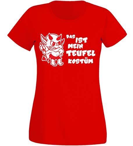 T-Shirt Damen - Teufel Dämon Kostüm rot - Karneval Fasching K (M) (Teufel Dämon Kostüm)