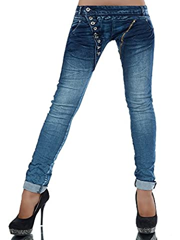 L368 Damen Jeans Hose Boyfriend Damenjeans Harem Baggy Chino Haremshose, Farben:Blau;Größen:38