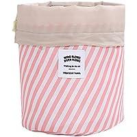GerTong Bolsas de cosméticos cilíndricas Oxford Bolsa de Maquillaje para Mujer Profesional Neceser Bolsa de Viaje Neceser de Almacenamiento de Aseo Rosa Rosa 7 * 23CM