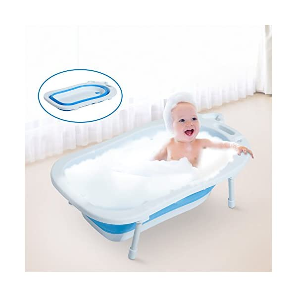HOMCOM 30L Baby Bath Tub Foldable Toddler Kids Infant Wash Play Plastic