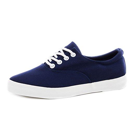 Trendige Low Top Damen Schnür Sneaker Schuhe in Textil Modell 2: Navy