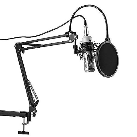 XCSOURCE BM-800 Condenser Sound Studio Recording Broadcasting Microphone + Shock Mount Holder White