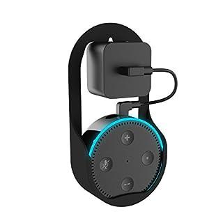 Yocktec Echo Dot 2 Wandhalterung/Steckdosenhalterung, kompakte Halterung Ständer mit Aufhänger Schleife Protective Charging Halter Tasche Zubehör für Echo Dot 2. Generation Lautsprecher-Schwarz