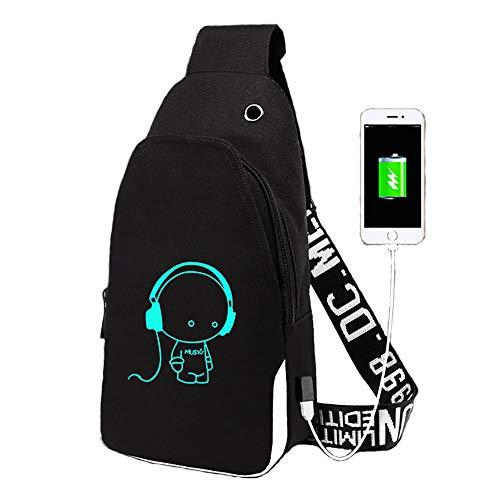 FZTX-LPX Crossbody-Brusttasche mit USB-Ladeanschluss und Kopfhöreranschluss, Herren Oxford Cloth Student Sport- und Freizeit-Umhängetasche Kleiner Rucksack,Schwarz -