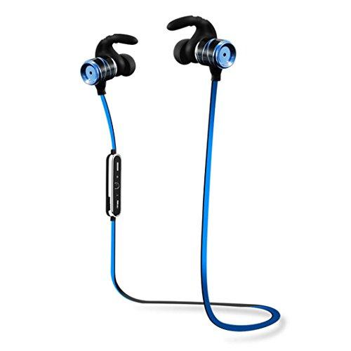 kingko® Bluetooth drahtlose Ohrhörer Stereo In-Ear Headsets Wasserdichte Sport Kopfhörer (Blau) (Gold)(Red)(Silber) ((Blau)) (Woofer Kopfhörer)