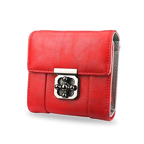 AFAITH Portafoglio delle donne in pelle, borsa 1xCash, slot per schede 6x, borsa multifunzione in moneta multifunzione Portafoglio per uso quotidiano / borsa da shopping / Party - Grigio FB001 rosso
