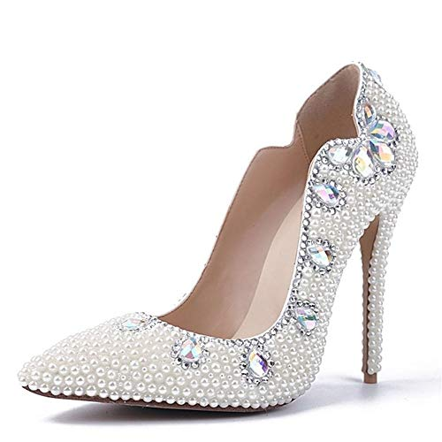 Lindarry Court Shoes for Damen Abendschuhe Slip-on Hochzeit Schlank Strass Spitzschuh Lack Kunstperle 10.5cm Stiletto Mode (Color : Weiß, Size : 39 EU) -