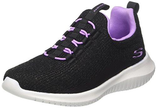 Skechers Mädchen Ultra Flex Slip on Sneaker, Schwarz (Black/Lavender), 33 EU (Mädchen Sneakers Slip On)