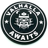 Valhalla awaits Viking negro PVC Airsoft Paintball parche