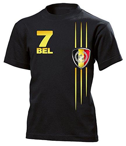 Belgien Fan Streifen 3314 Fussball Kinder Fanshirt Fun-T-Shirts Schwarz 116