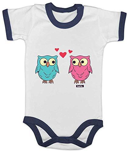 HARIZ Baby Body Ringer Eulen Herz Tiere Zoo Inkl. Geschenk Karte Weiß/Navy Blau 12-18 Monate -