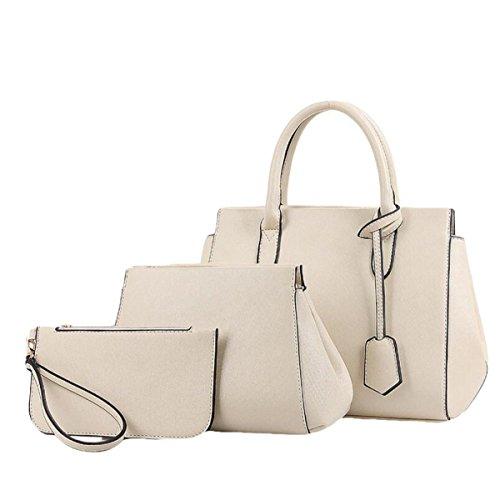 Damen Europa Und Die Vereinigten Staaten Einfache Dreiteilige Paket Paket Mode Messenger Bag Schultertasche Handtasche Beige