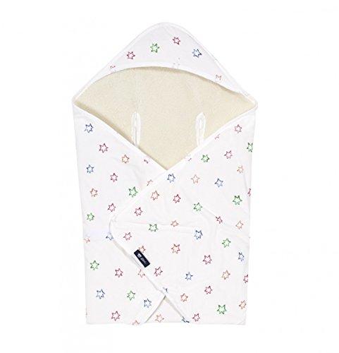 Alvi Baby Reisedecke Exclusiv | Baby Einschlagdecke 80 cm x 80 cm | Babydecke mit integrierter Mütze | Babyhörnchen aus Baumwolle & atmungsaktiv | passt für jede Babyschale, Design:Bunter Stern 583-0