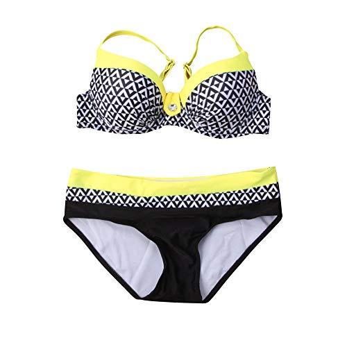 HHGOZI Frauen Bikini Set Plaid Bademode Bandage Push Up Beachwear, B, S (Korsett Oben Schwimmen)