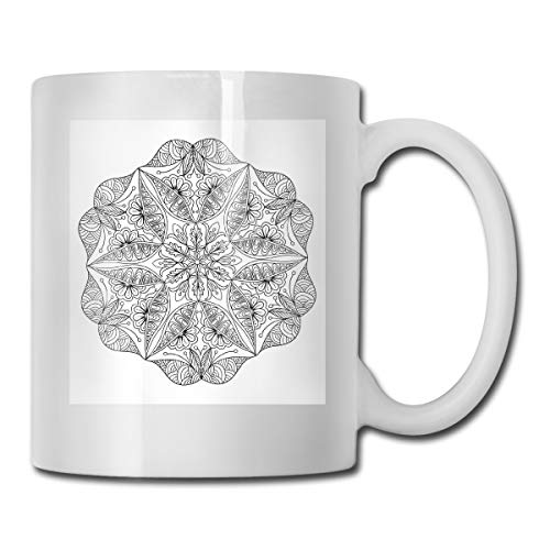 Jolly2T Funny Ceramic Novelty Coffee Mug 11oz,Hand Drawn Ethnic Asian Cosmos Symbol Spiritual Traditional Sacred Floral Pattern,Unisex Who Tea Mugs Coffee Cups,Suitable for Office and Home Floral Demitasse Cup