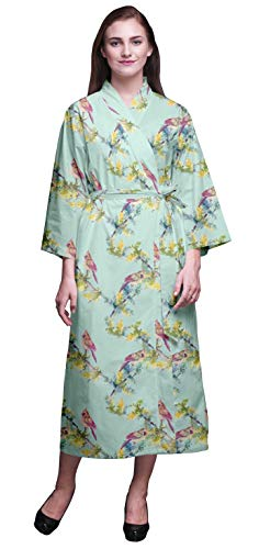 Bimba Pastell-Minze Vogel Bulbul Bedruckte Crossover-Roben Brautjungfer Immer bereit Shirt Kleider Bademäntel für Frauen XL - Frauen Minze Kleid Shirt