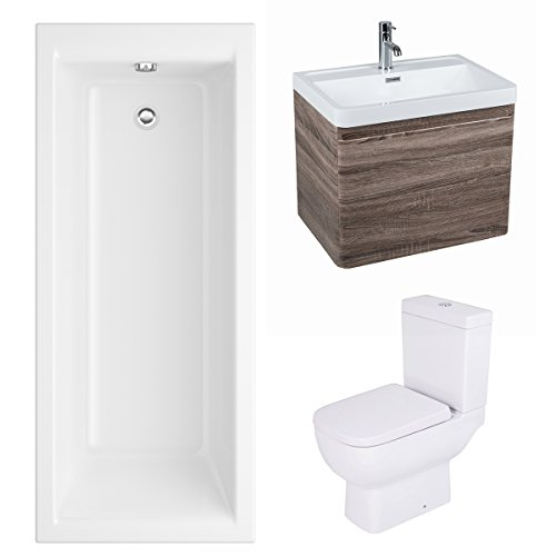 Feel 600 Short Projection Bathroom Suite with Wall Hung Vanity Unit and Close Coupled Toilet with Soft Close Seat