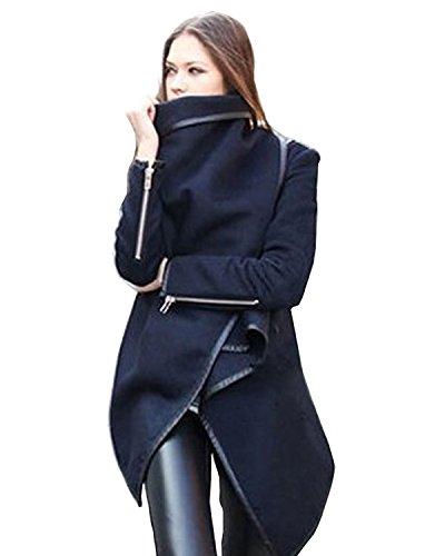 BININBOX® 2 Farben Damen Mantel kurzer Wollmantel Trenchcoat Stehkragen Asymmetrisch Übergangsjacke (Deusche Gr.M/Hersteller Gr.XL, Grau)