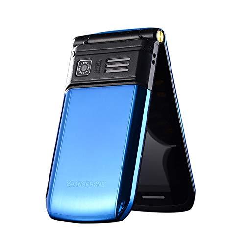 Flip Alten Mann Handy, E9 Dual-Screen-Dual-SIM-Karte Lange Standby-FM Senior Phone Flip-Handy 3-4 Stunden Sprechzeit für alte Menschen (Blau)