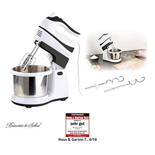 Rosenstein & Söhne Handrührgerät: Handmixer-Set: Rührständer, Edelstahl-Schüssel, 5 Stufen, Turbo, 500 W (Küchenmaschine)