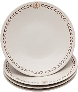 Laguiole 437304 Vaisselle en Grès Lot de 4 Assiettes Dessert Laguiole en grès naturel Diam: 20 cm Vanille