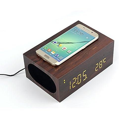 YOUMI multi-funzione Stereo Bluetooth legno Speaker Wireless caricabatterie con costruito