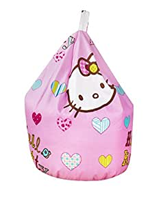 Cotton Hello Kitty Hearts Folk Pink Seat Chair Bean Bag with Filling