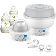 MAM 6 in 1 Electric Steriliser & Express Bottle Warmer; Includes 2 x 160ml Easy Start Anti-Colic Bottles & 2 x Start Soothers